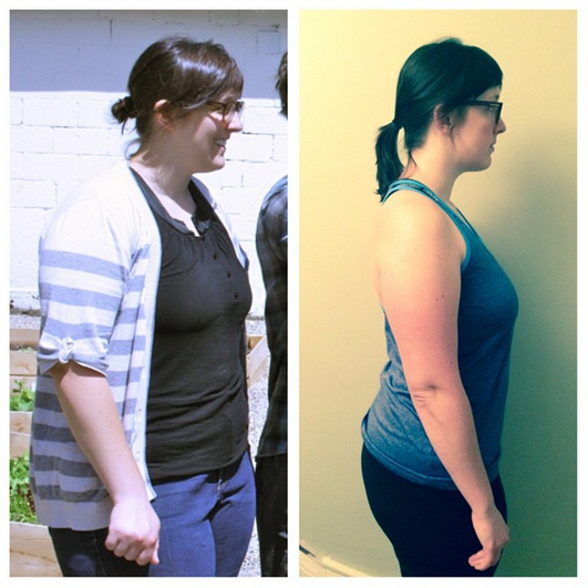 Left: June 2014. Right: November 2014. 25-pound difference.